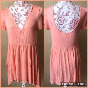 Anthro Pins & Needles Skater Dress M Peach Rayon